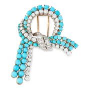 A VINTAGE TURQUOISE AND DIAMOND BROOCH CIRCA 1960 in 18ct yellow gold and platinum, designed as a