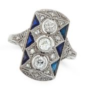 AN ART DECO DIAMOND AND SAPPHIRE RING, EARLY 20TH CENTURY in 18ct white gold, the rectangular face