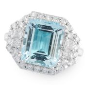 AN AQUAMARINE AND DIAMOND DRESS RING in 18ct white gold, set with an emerald cut aquamarine of 4.