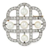A NATURAL SALTWATER PEARL AND DIAMOND BROOCH, EARLY 20TH CENTURY in 18ct yellow gold and platinum,
