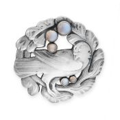 A MOONSTONE BROOCH, KRISTIAN MOHL-HANSEN FOR GEORG JENSEN CIRCA 1920 in silver, design number 70,