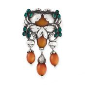 AN IMPORTANT AMBER AND CHRYSOPRASE MASTER BROOCH, GEORG JENSEN 1933-1944 in silver, design number