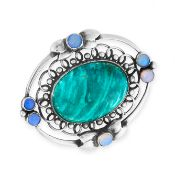 AN ANTIQUE HARDSTONE AND OPAL BROOCH, GEORG JENSEN CIRCA 1910 in silver, design number 91, set