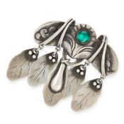 AN ANTIQUE MALACHITE BROOCH, GEORG JENSEN 1904-1908 in silver, design number 14, the body set with a