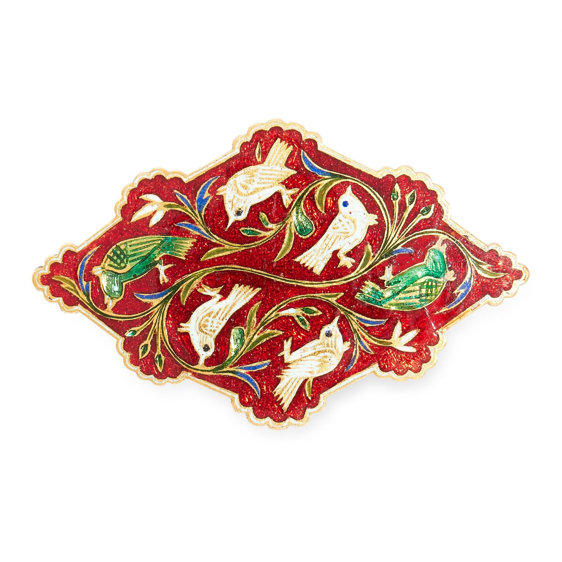 AN ANTIQUE INDIAN ENAMEL BROOCH the stylised design featuring birds among foliage relieved in white,