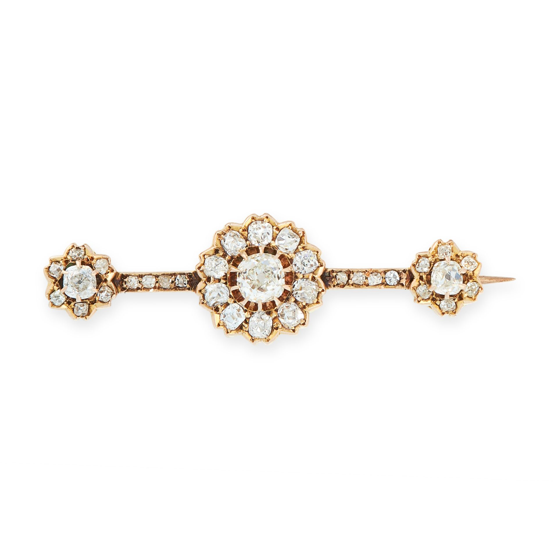 AN ANTIQUE DIAMOND BAR BROOCH, LATE 19TH CENTURY in high carat yellow gold, comprising a trio of