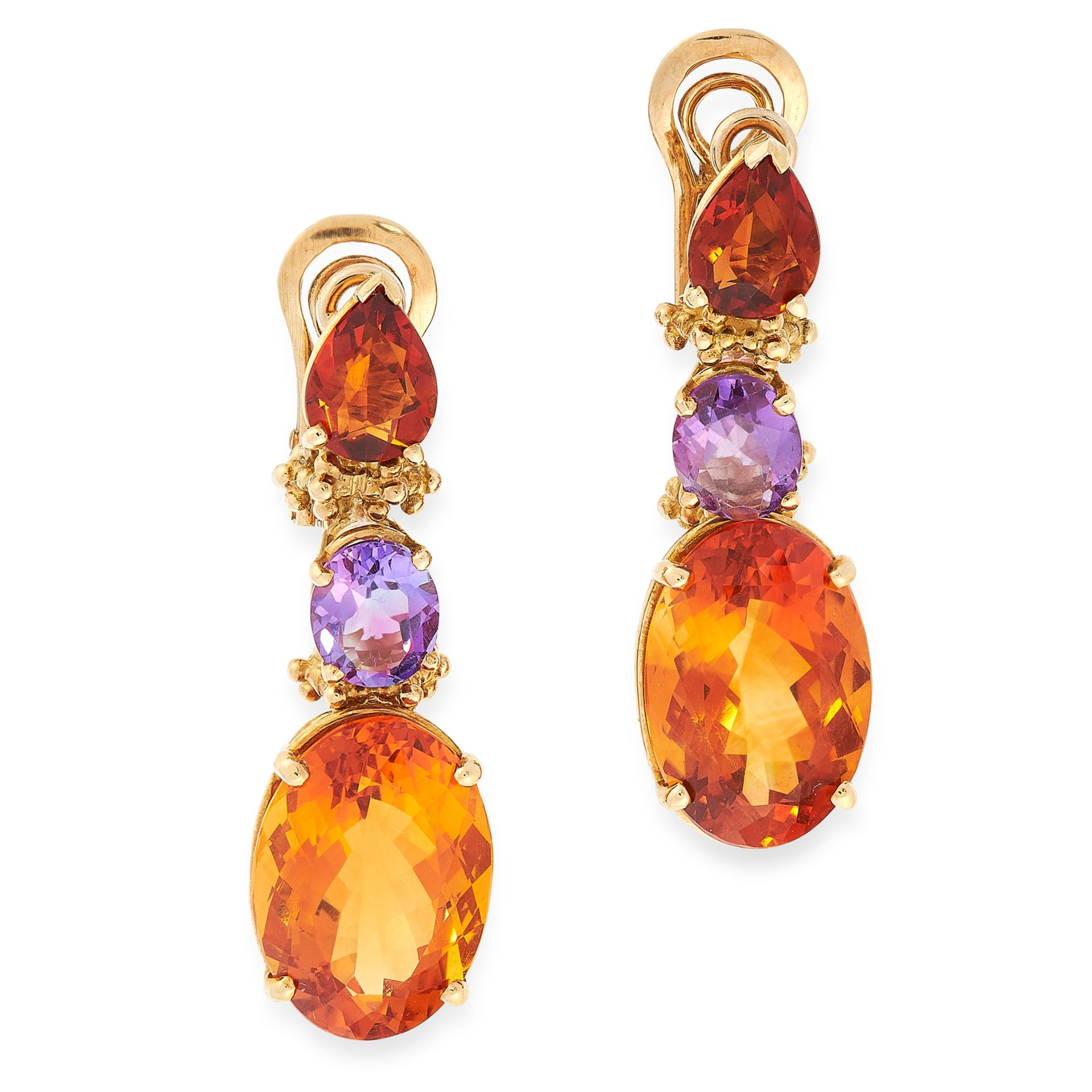 A PAIR OF CITRINE AND AMETHYST EARRINGS in high carat yellow gold, each formed of an oval and pear