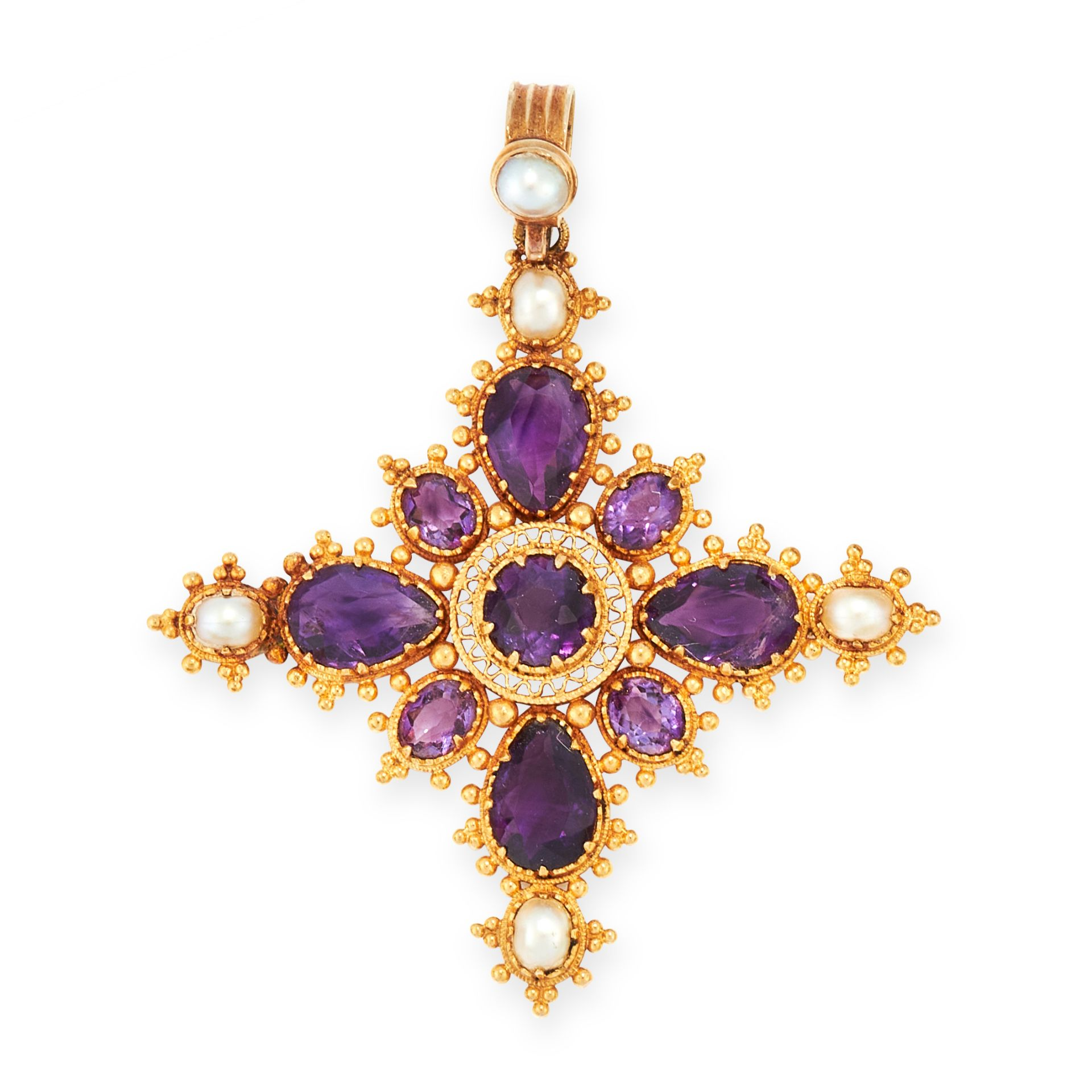 AN ANTIQUE AMETHYST AND PEARL CROSS PENDANT, 19TH CENTURY in high carat yellow gold, set with round,