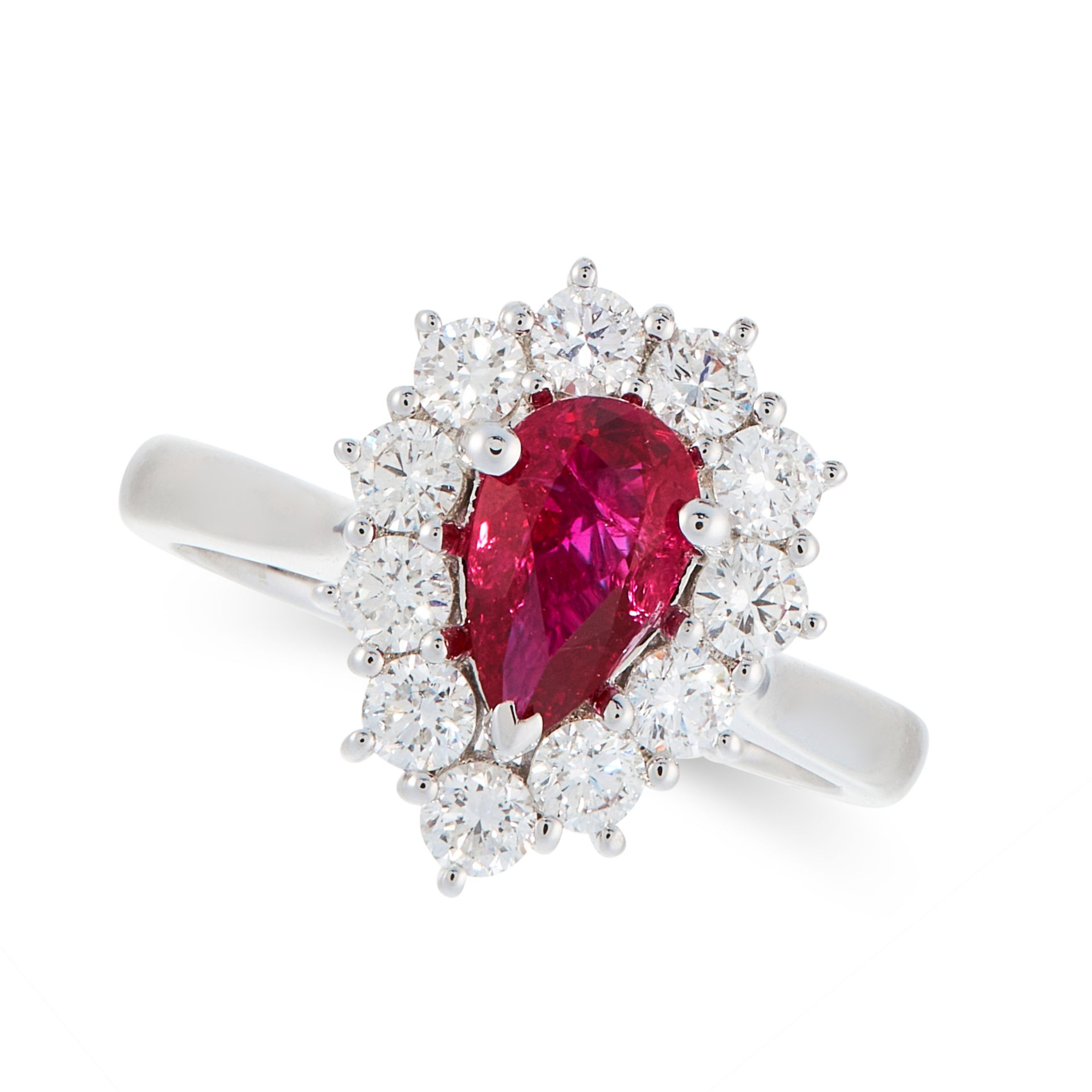 A BURMA NO HEAT RUBY AND DIAMOND DRESS RING in 18ct white gold, set with a pear cut ruby of 1.02