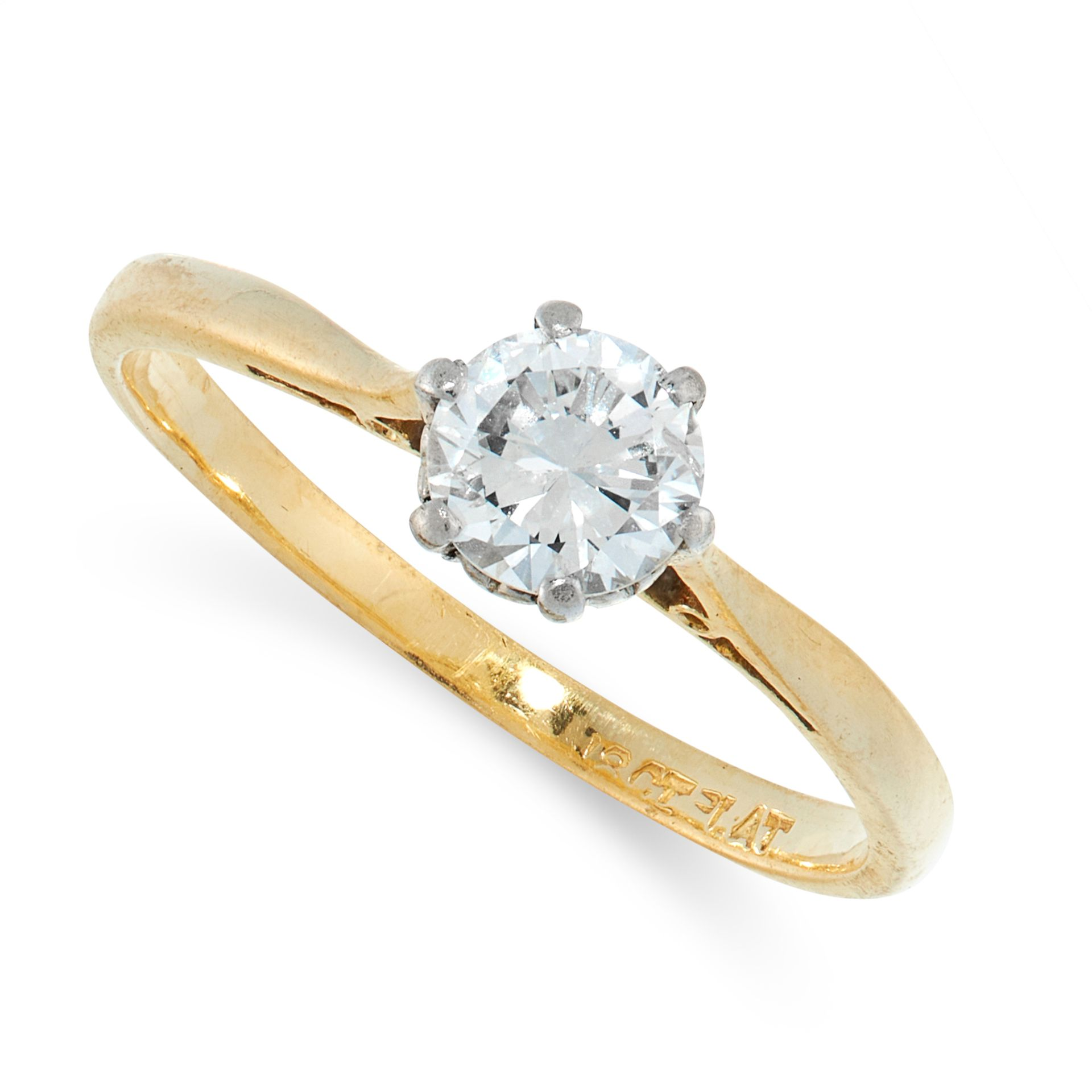 A SOLITAIRE DIAMOND ENGAGEMENT RING in 18ct yellow gold and platinum, set with a round cut diamond