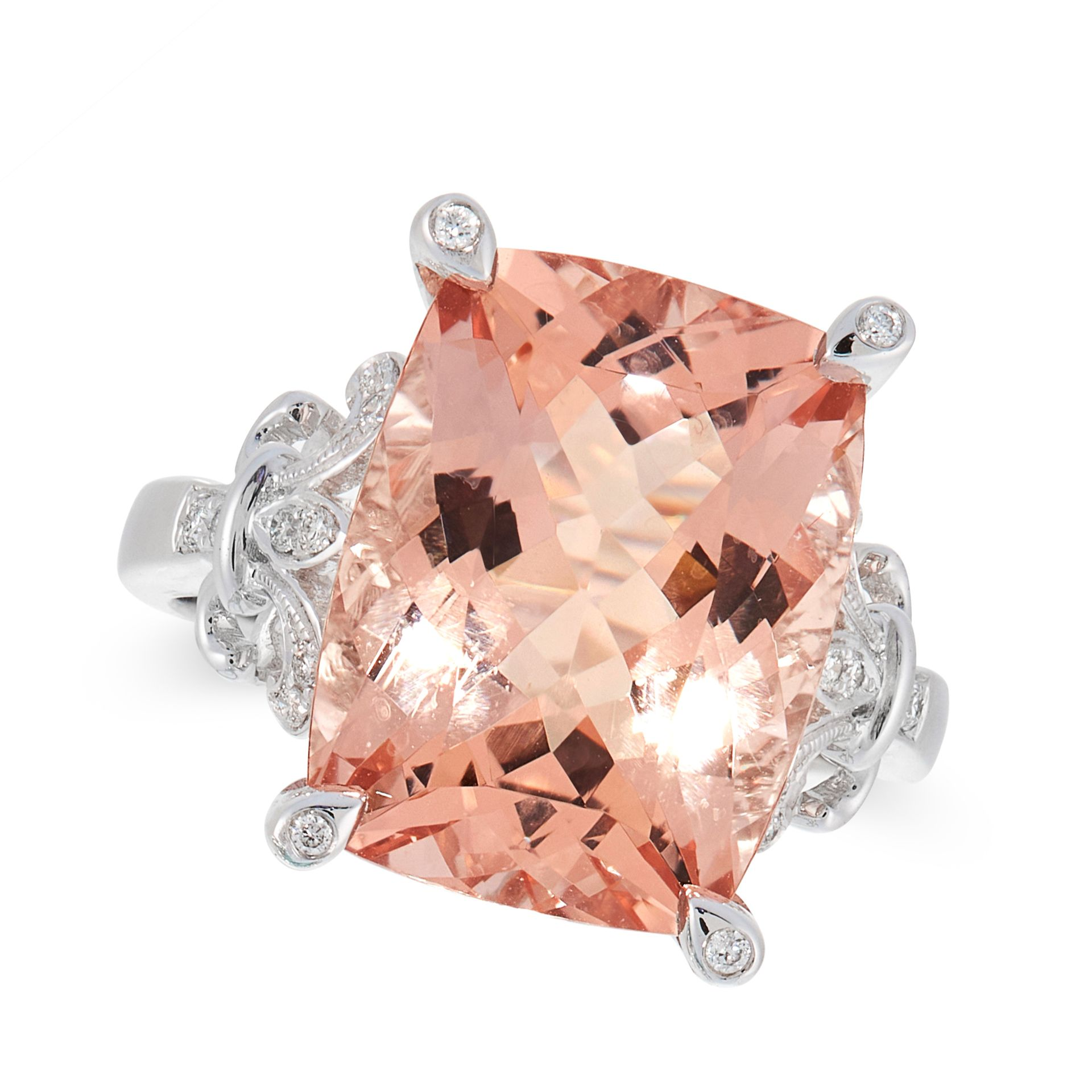 A MORGANITE AND DIAMOND DRESS RING in 18ct white gold, set with a cushion cut morganite of 9.40