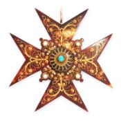 AN ANTIQUE TURQUOISE, PEARL AND TORTOISESHELL MALTESE CROSS PENDANT in yellow gold, the body of