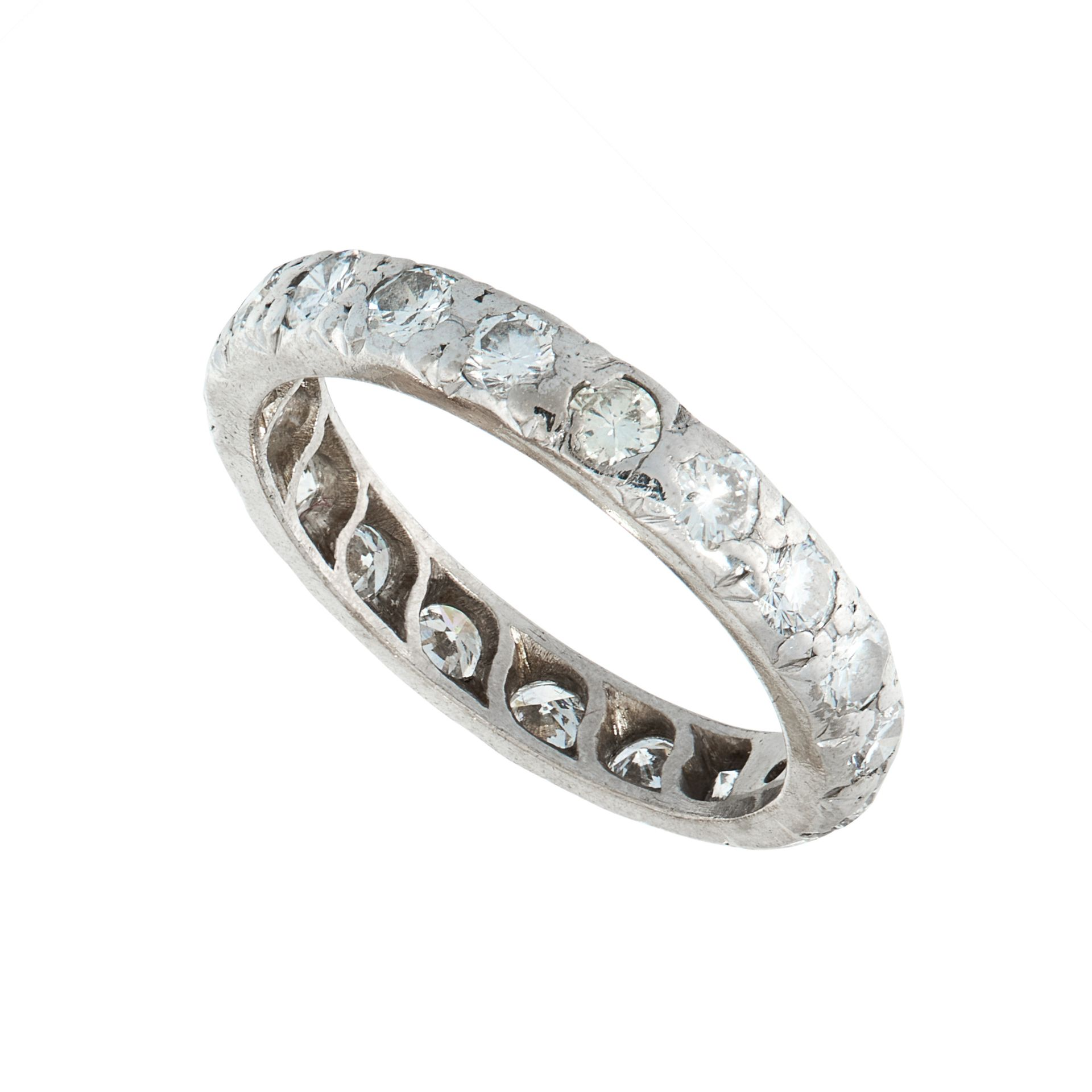 A DIAMOND ETERNITY RING the band set all around with a single row of round cut diamonds, all - Image 2 of 2