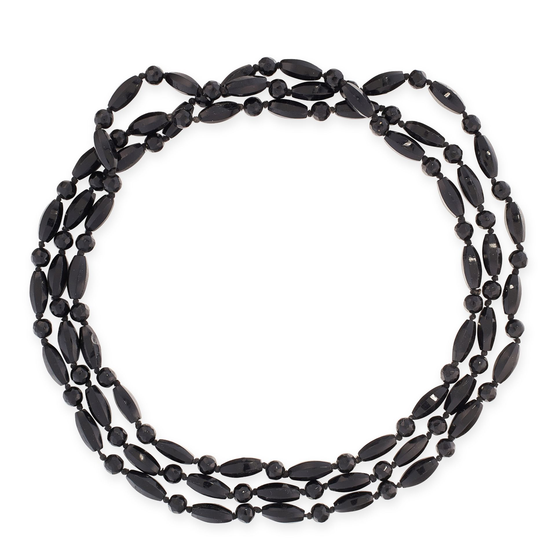 A VINTAGE BEAD NECKLACE comprising a single row of round and elongated faceted black beads, 143.0cm,