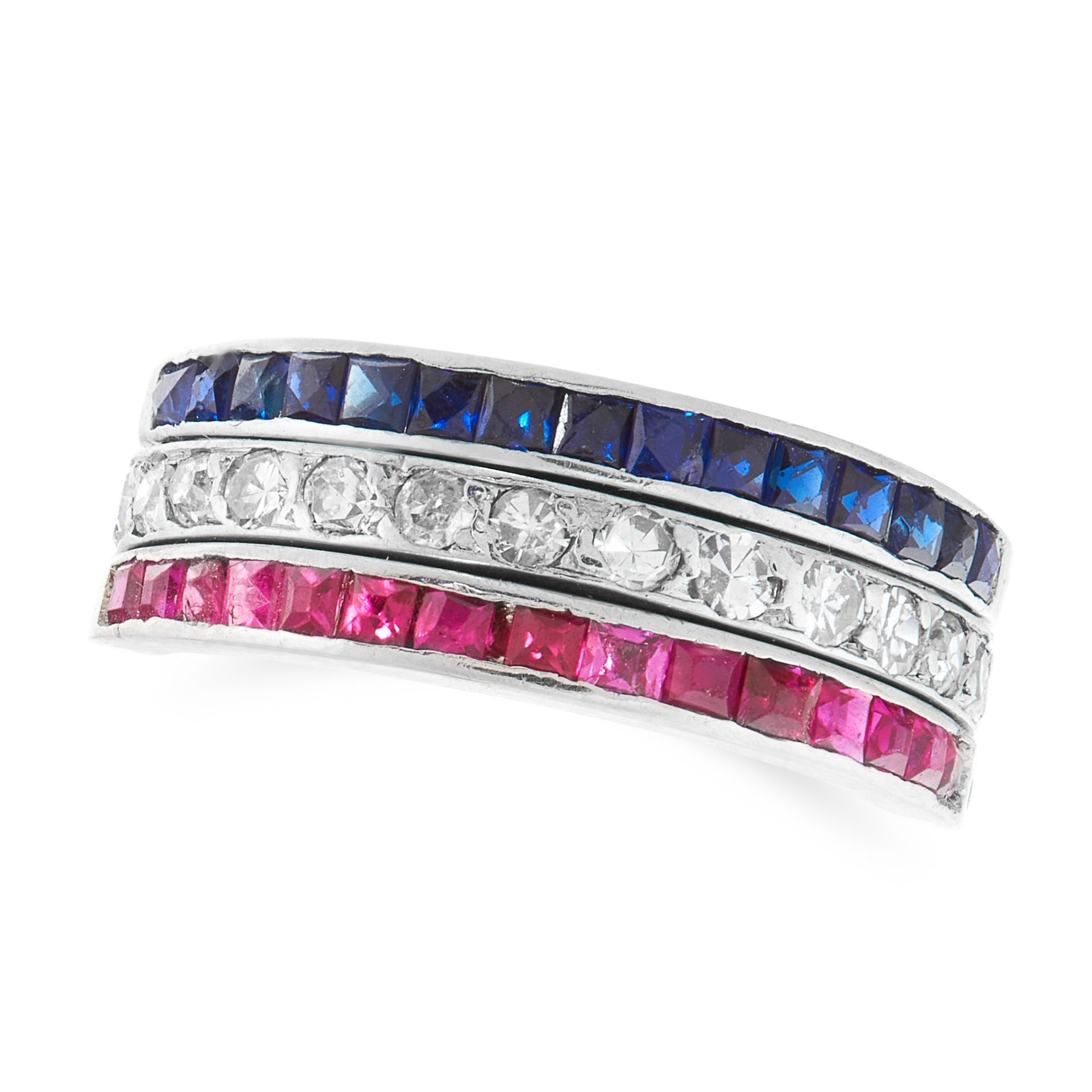 A SAPPHIRE, RUBY AND DIAMOND REVERSIBLE RING the central band set with single cut diamonds flanked