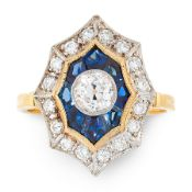 A DIAMOND AND SAPPHIRE DRESS RING, DIRCA 1940 in 18ct yellow gold, in Art Deco design, in the formed