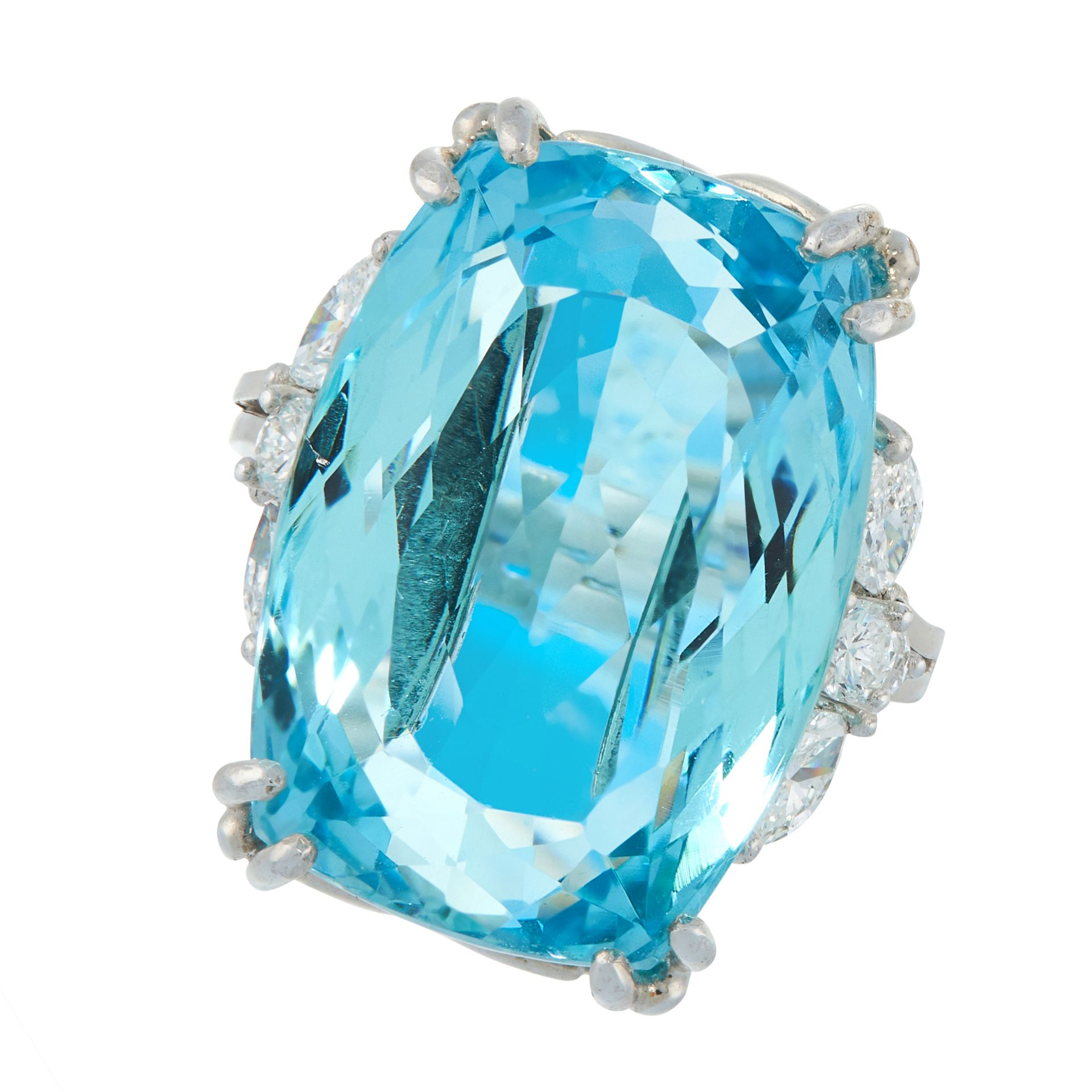 AN AQUAMARINE AND DIAMOND DRESS RING in platinum, set with a cushion cut aquamarine of 22.03 carats,