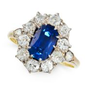 A BURMA NO HEAT SAPPHIRE AND DIAMOND DRESS RING in 18ct yellow gold, set with a cushion cut blue