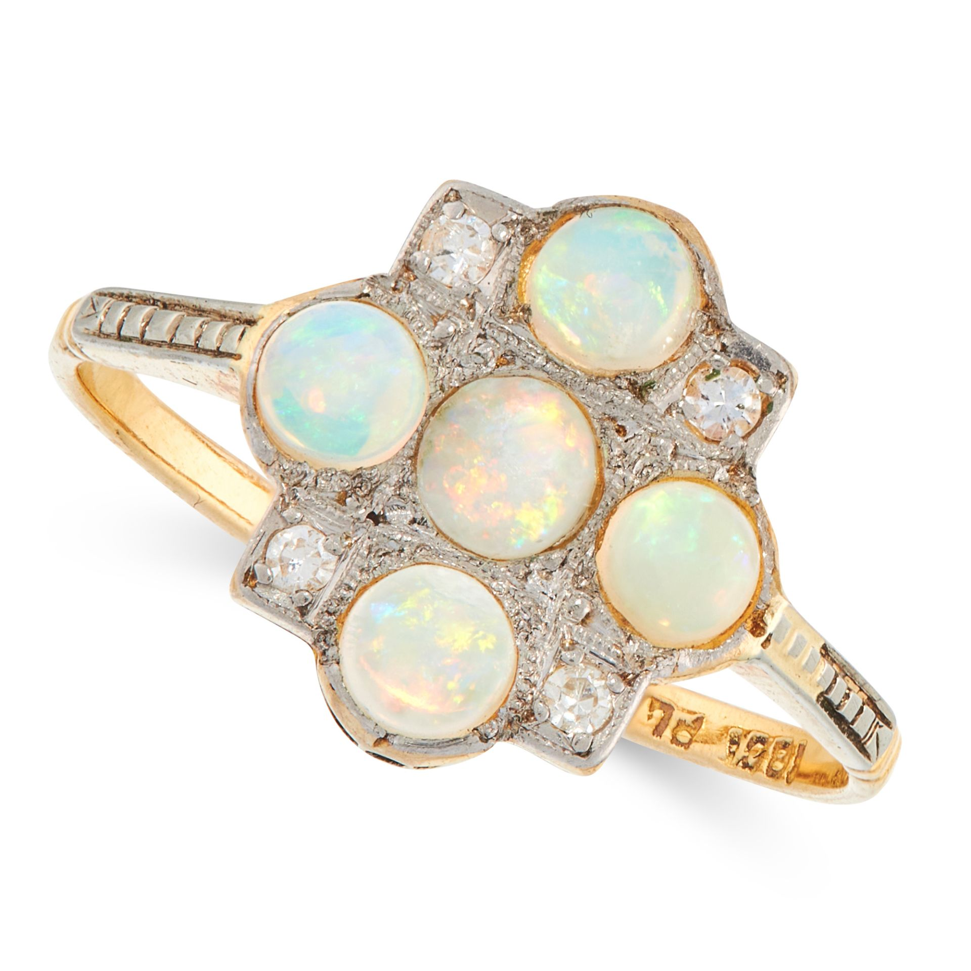 AN OPAL AND DIAMOND DRESS RING, EARLY 20TH CENTURY in 18ct yellow gold and platinum, set with five