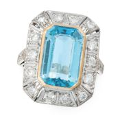 AN AQUAMARINE AND DIAMOND DRESS RING in 18ct white gold and yellow gold, set with an emerald cut