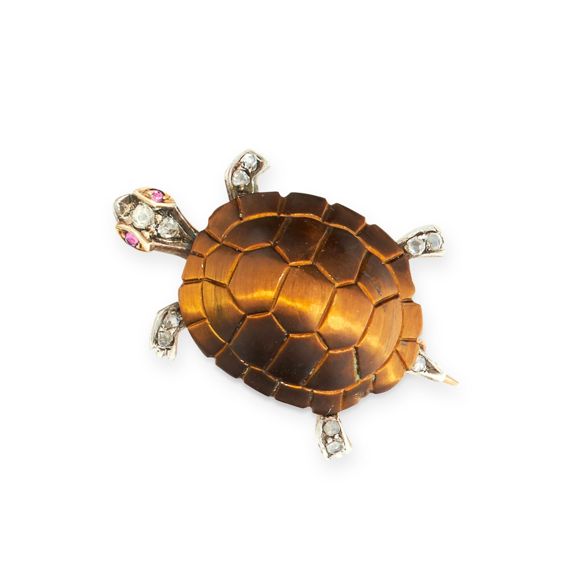 A TIGER'S EYE, RUBY AND DIAMOND TURTLE BROOCH in yellow gold, the shell formed of a carved piece