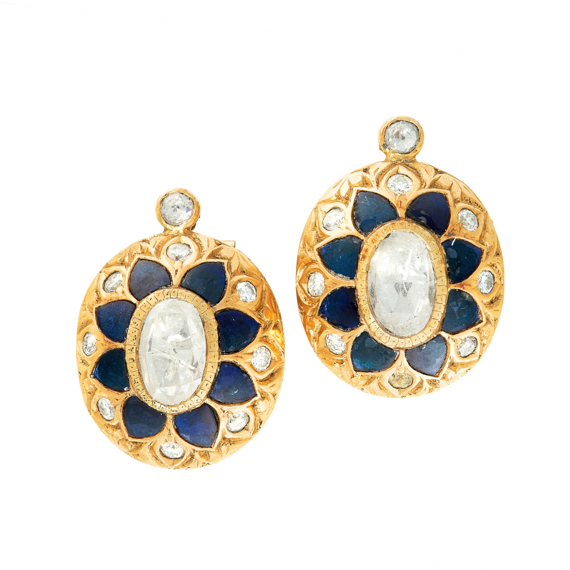 A PAIR OF DIAMOND AND ENAMEL EARRINGS each set with an elongated oval rose cut diamond of 9.5mm