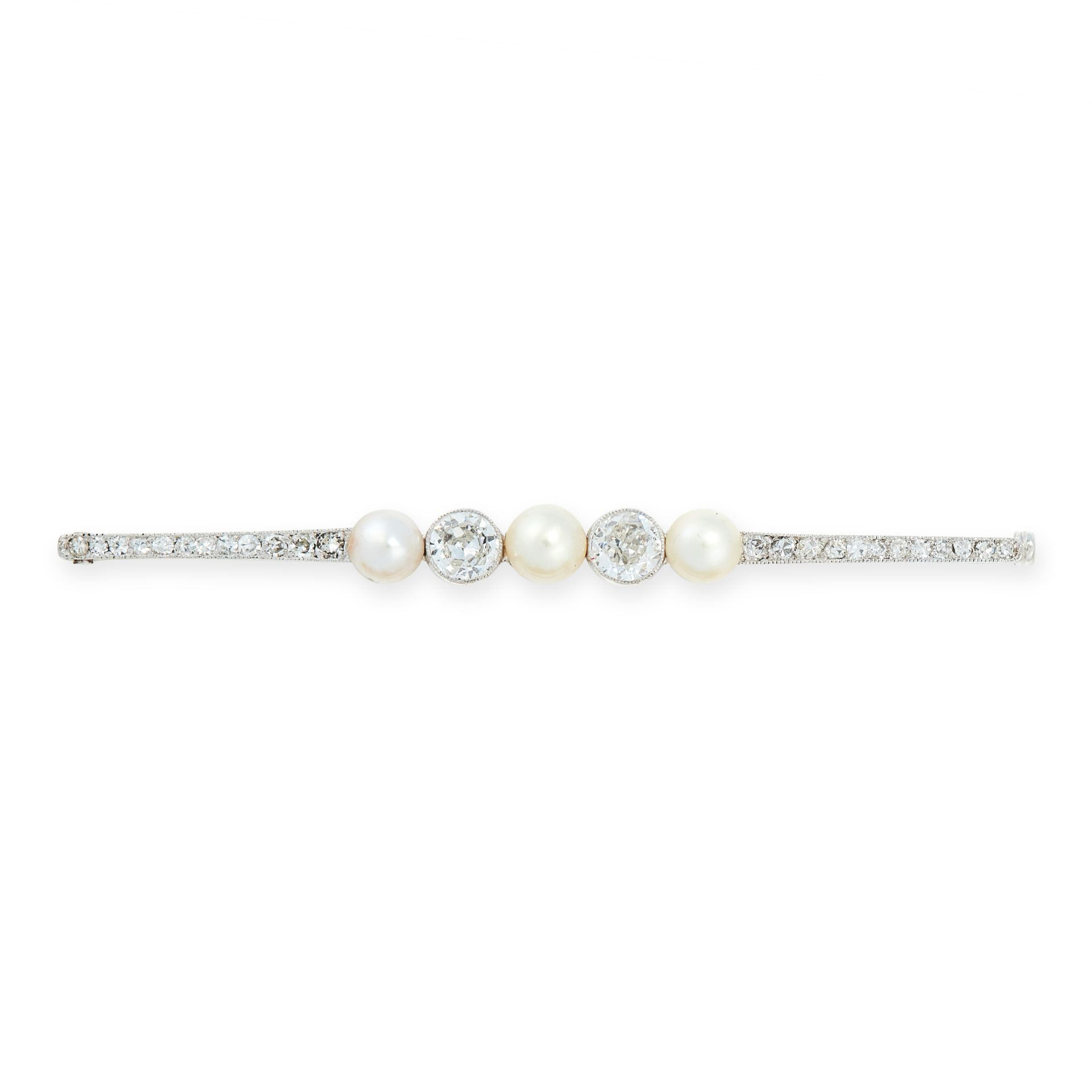 A PEARL AND DIAMOND BAR BROOCH, CIRCA 1940 in 14ct white gold, set with a trio of pearls