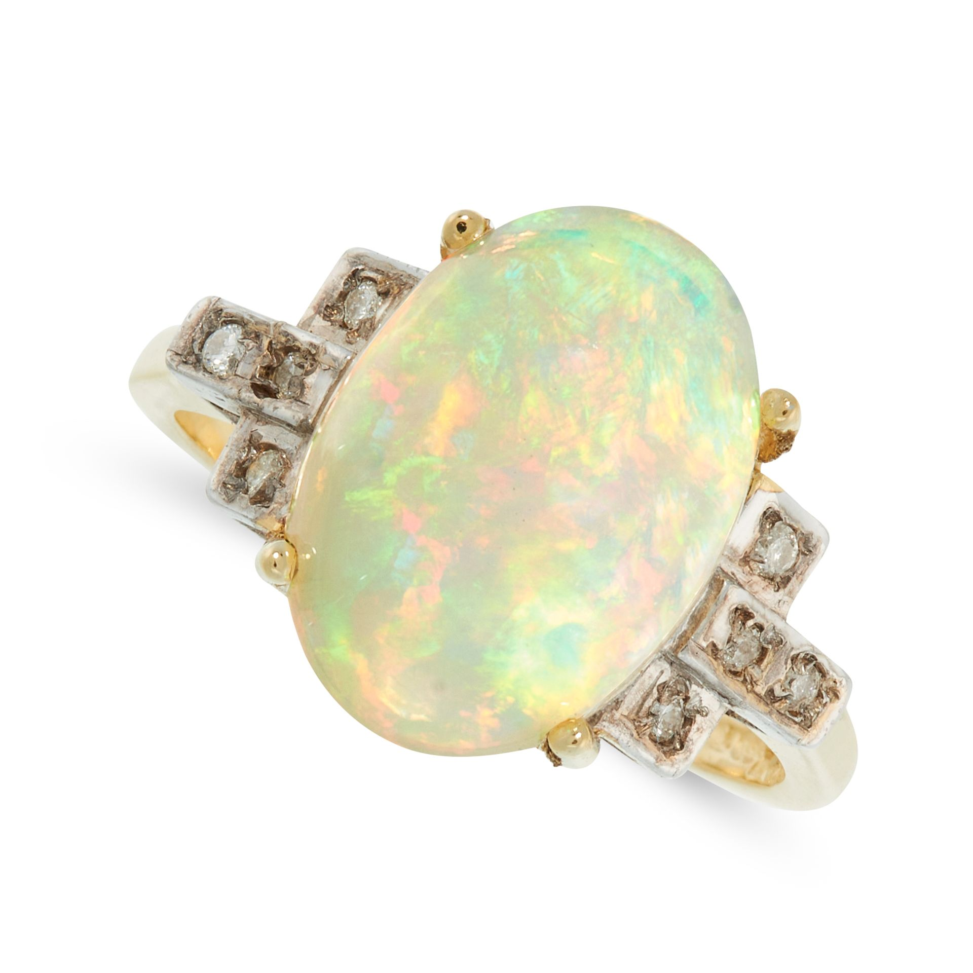 AN OPAL AND DIAMOND DRESS RING in 18ct yellow gold, set with an oval cabochon opal between stepped