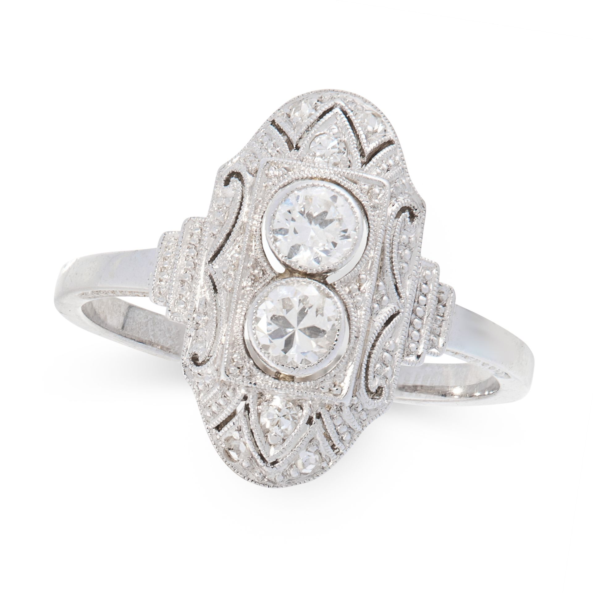 A DIAMOND DRESS RING, CIRCA 1940 in 18ct white gold, the navette shaped face set with two