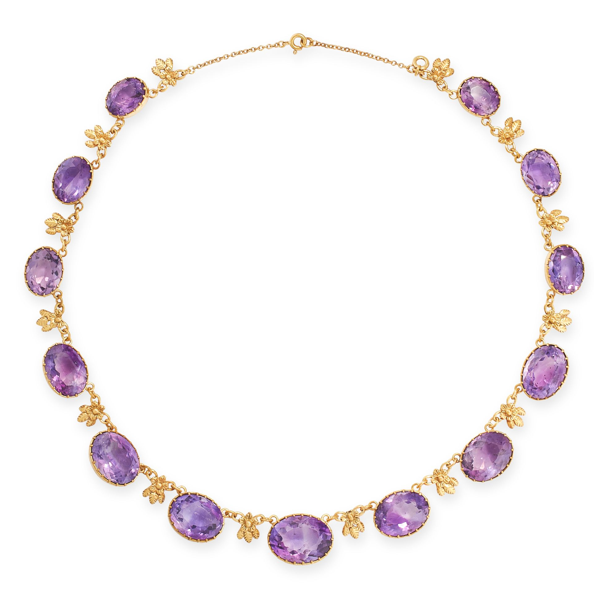 AN ANTIQUE AMETHYST RIVIERE NECKLACE, 19TH CENTURY comprising a single row of thirteen graduated