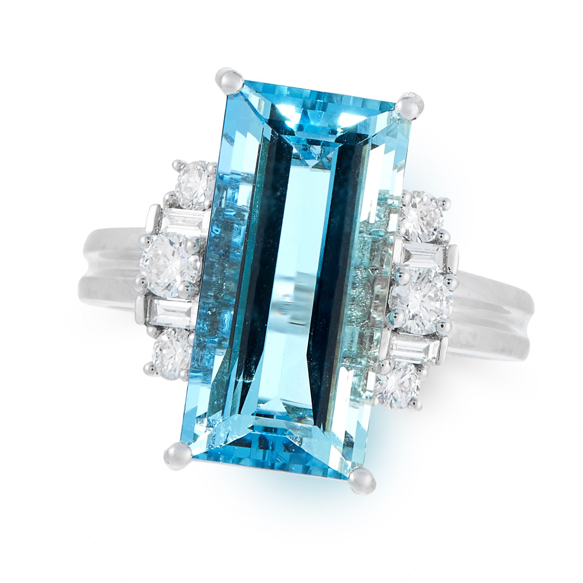 AN AQUAMARINE AND DIAMOND DRESS RING in platinum, set with a step cut aquamarine of 6.06 carats