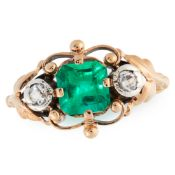 A COLOMBIAN EMERALD AND DIAMOND RING, CIRCA 1945 in 18ct yellow gold, set with an octagonal cut