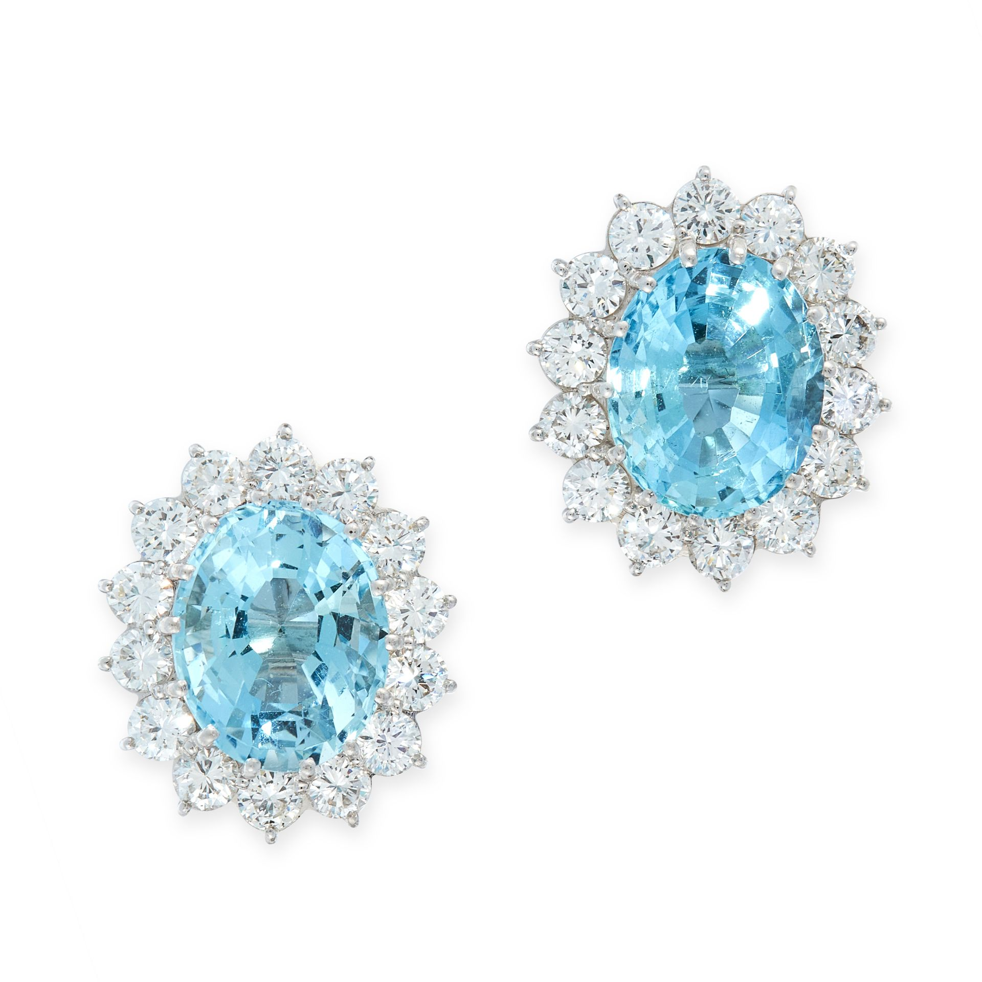 A PAIR OF AQUAMARINE AND DIAMOND STUD EARRINGS each set with an oval cut aquamarine of 2.94 carats