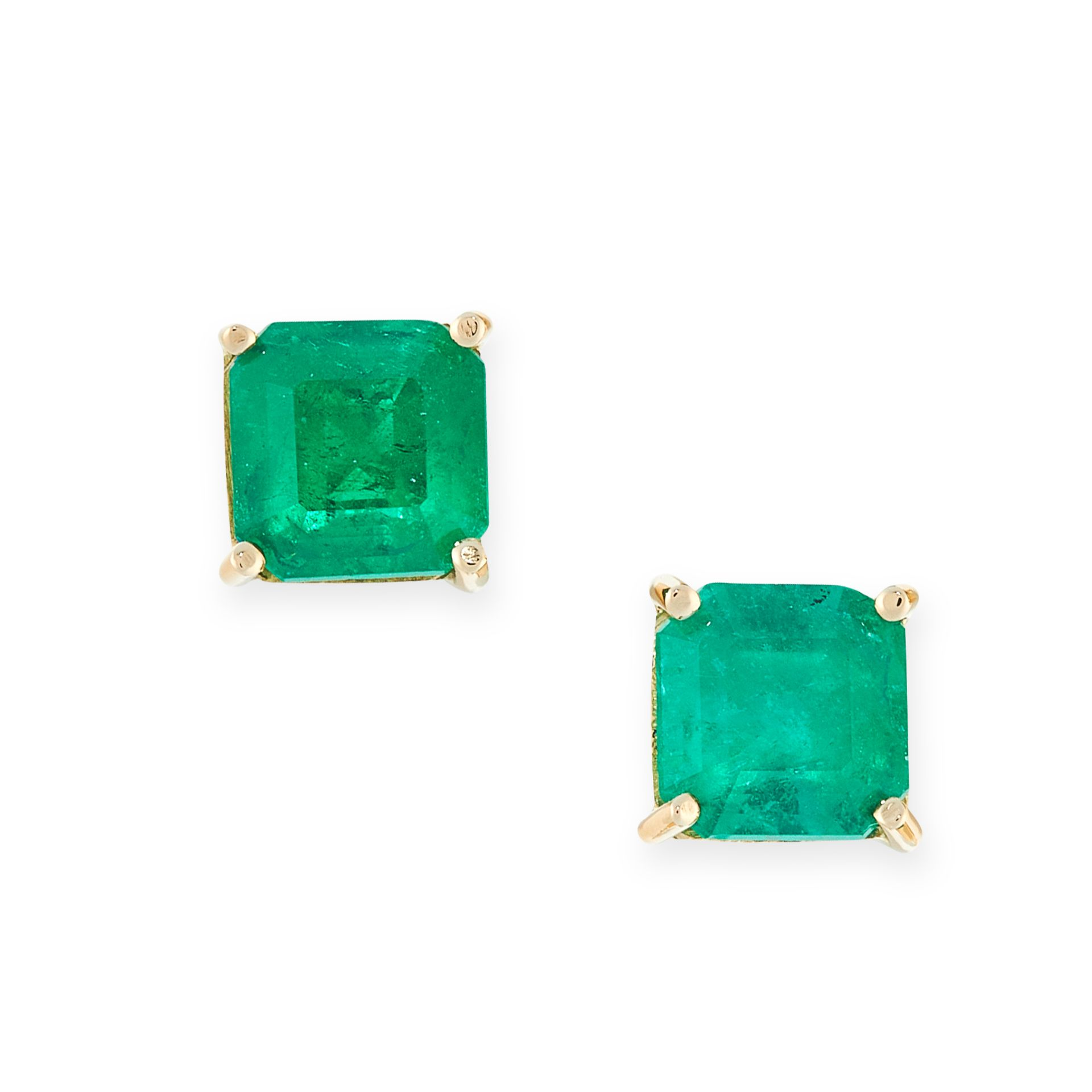 A PAIR OF EMERALD STUD EARRINGS in 18ct yellow gold, each set with an emerald cut emerald