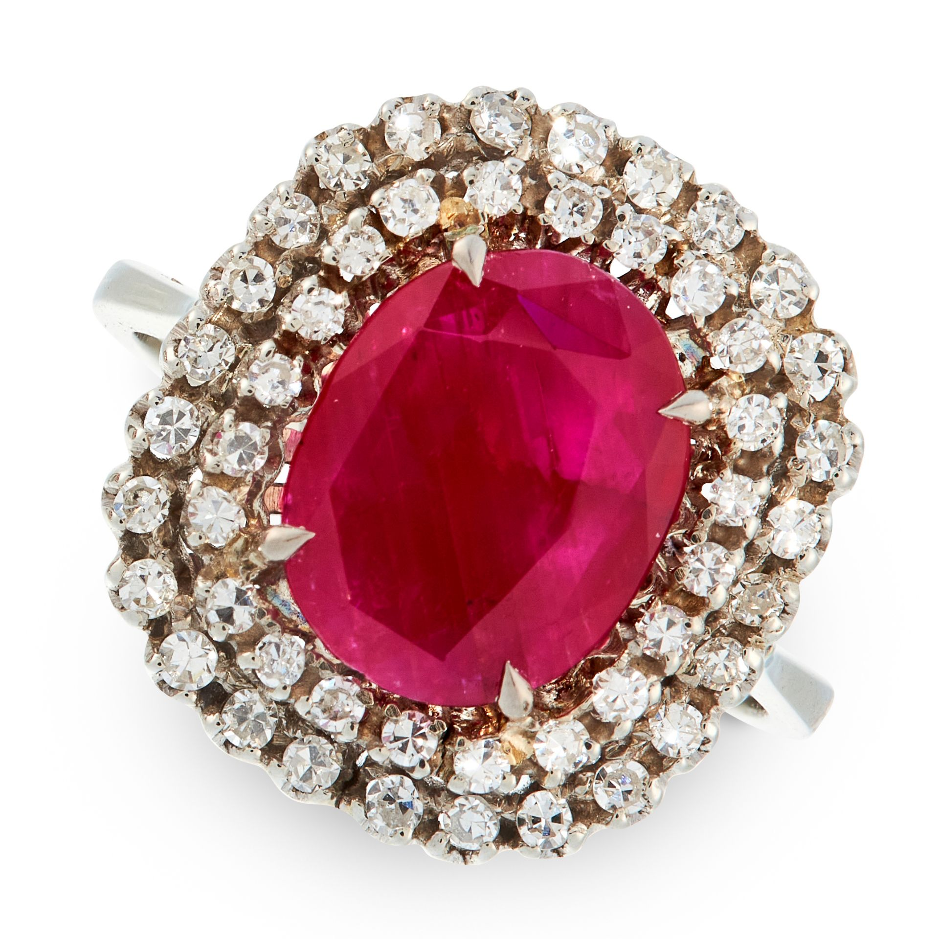A BURMA NO HEAT RUBY AND DIAMOND RING in 18ct white gold, set with a cushion cut ruby of 2.93 carats