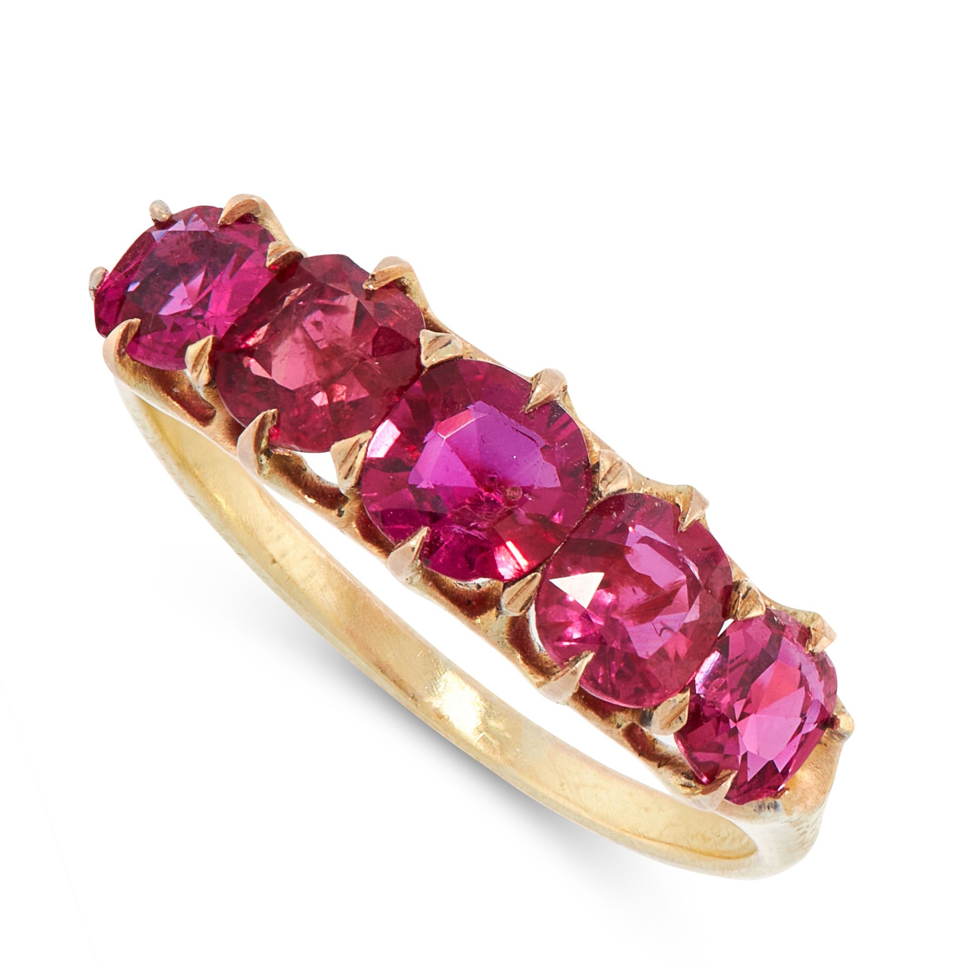 AN ANTIQUE UNHEATED RUBY DRESS RING in high carat yellow gold, set with a row of five graduated