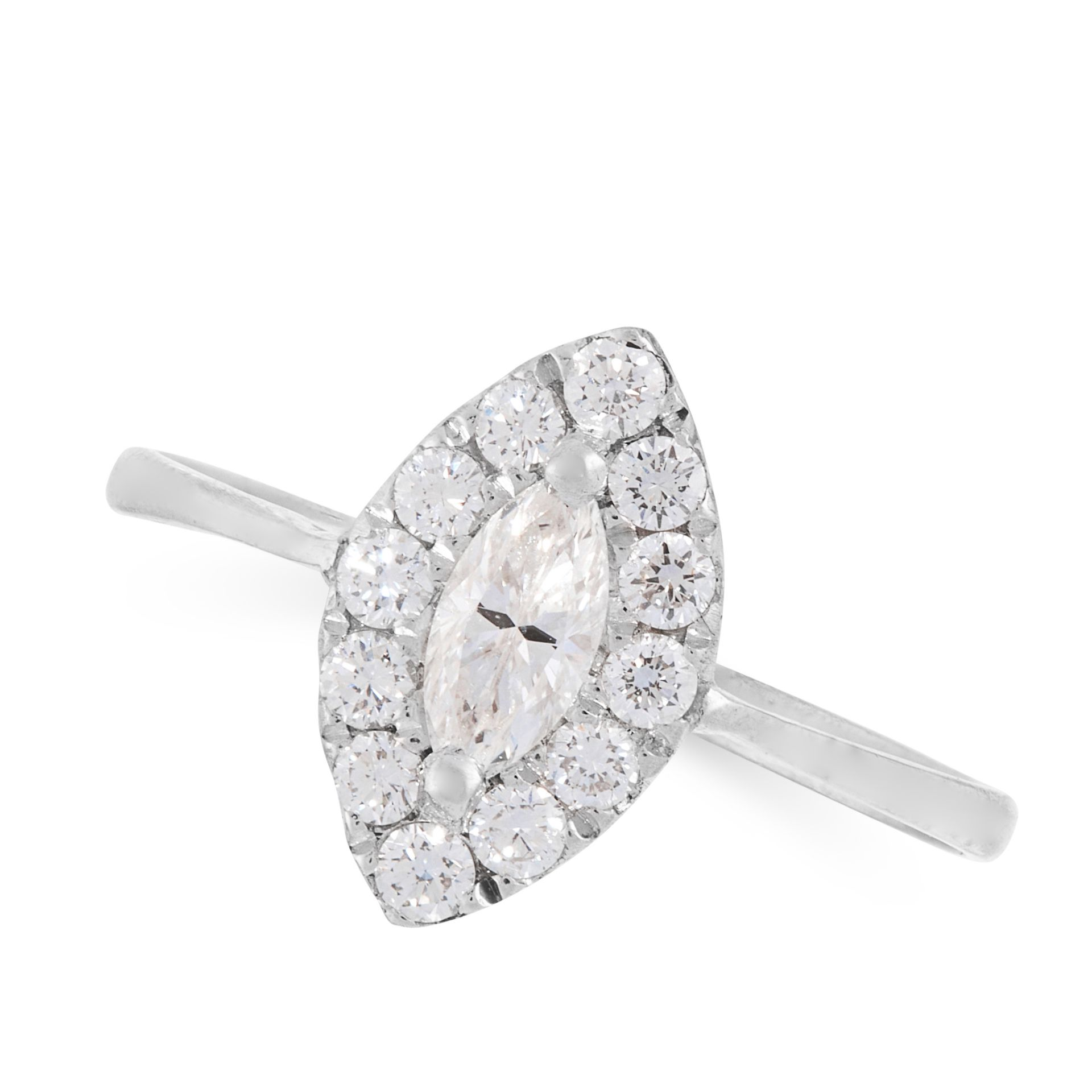 A DIAMOND DRESS RING in 18ct white gold, set with a marquise cut diamond within a border of round