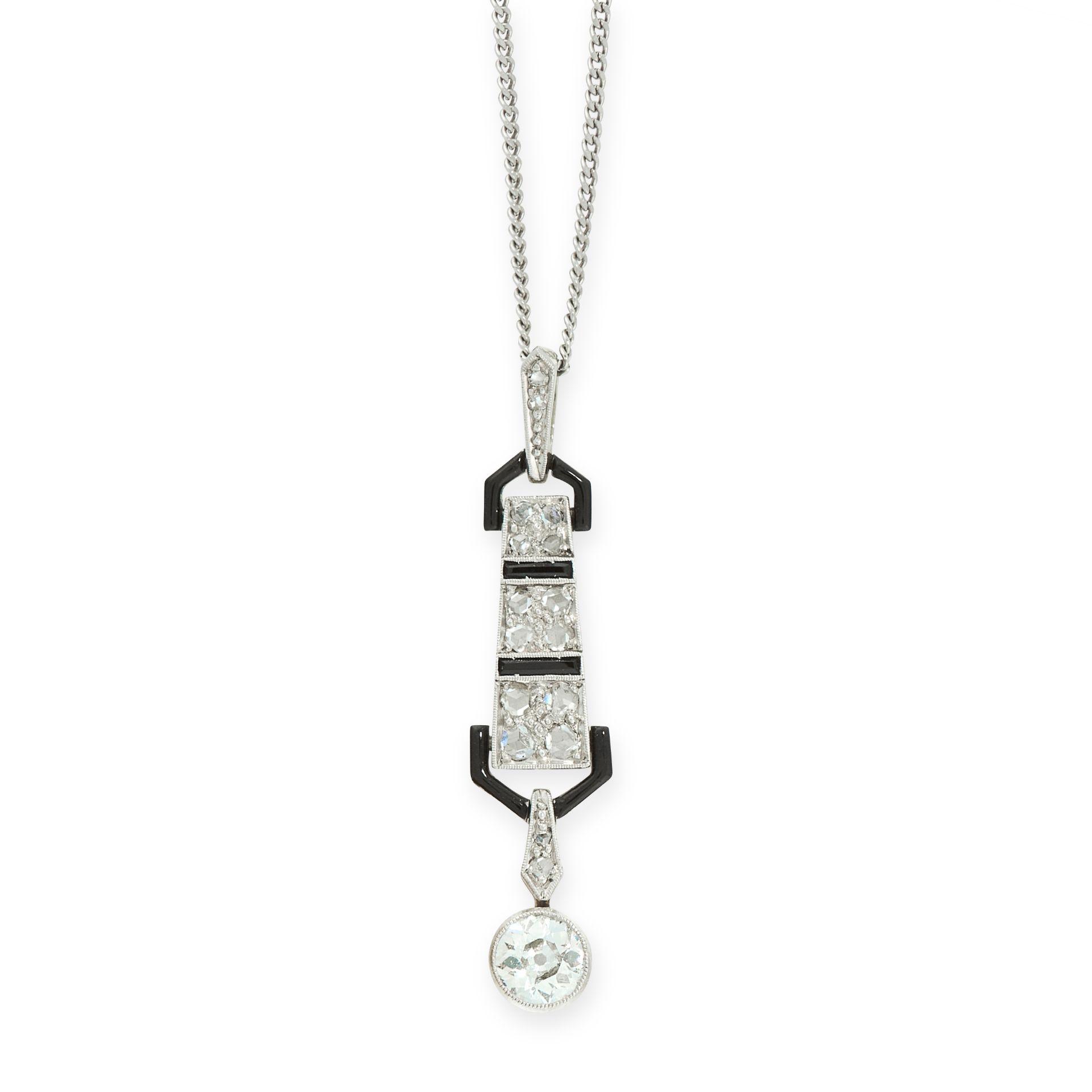 AN ART DECO DIAMOND, ONYX AND ENAMEL PENDANT, EARLY 20TH CENTURY set with an old cut diamond