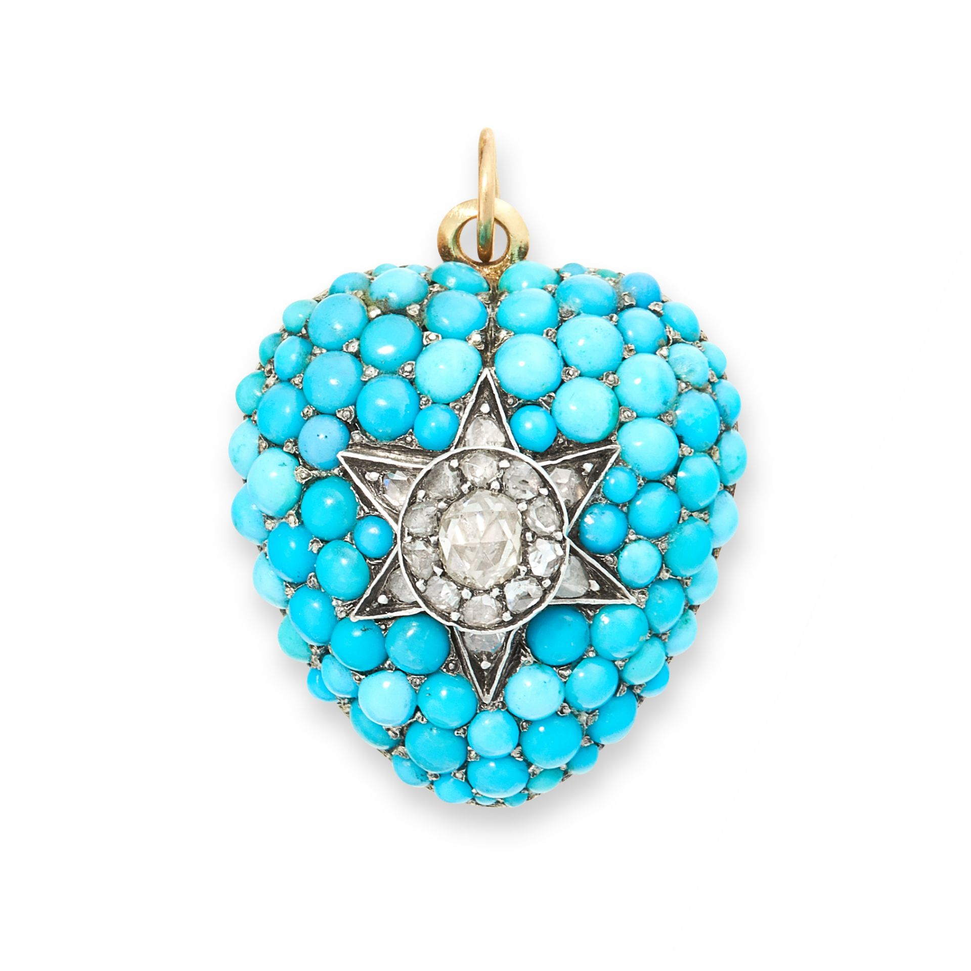 AN ANTIQUE TURQUOISE AND DIAMOND MOURNING LOCKET PENDANT, 19TH CENTURY in yellow gold gold silver,