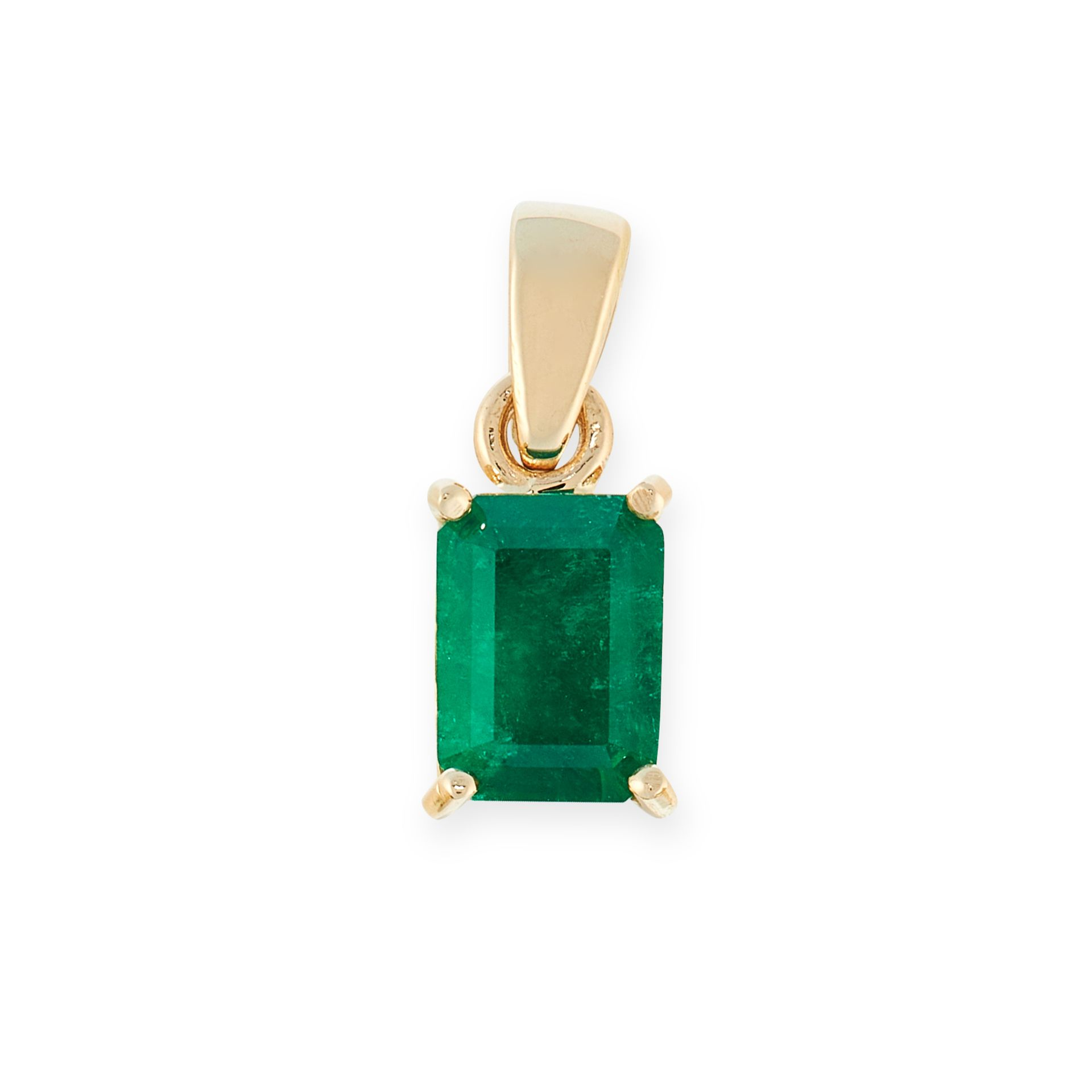 AN EMERALD PENDANT in 18ct yellow gold, set with an emerald cut emerald of 0.91 carats, stamped 18K,