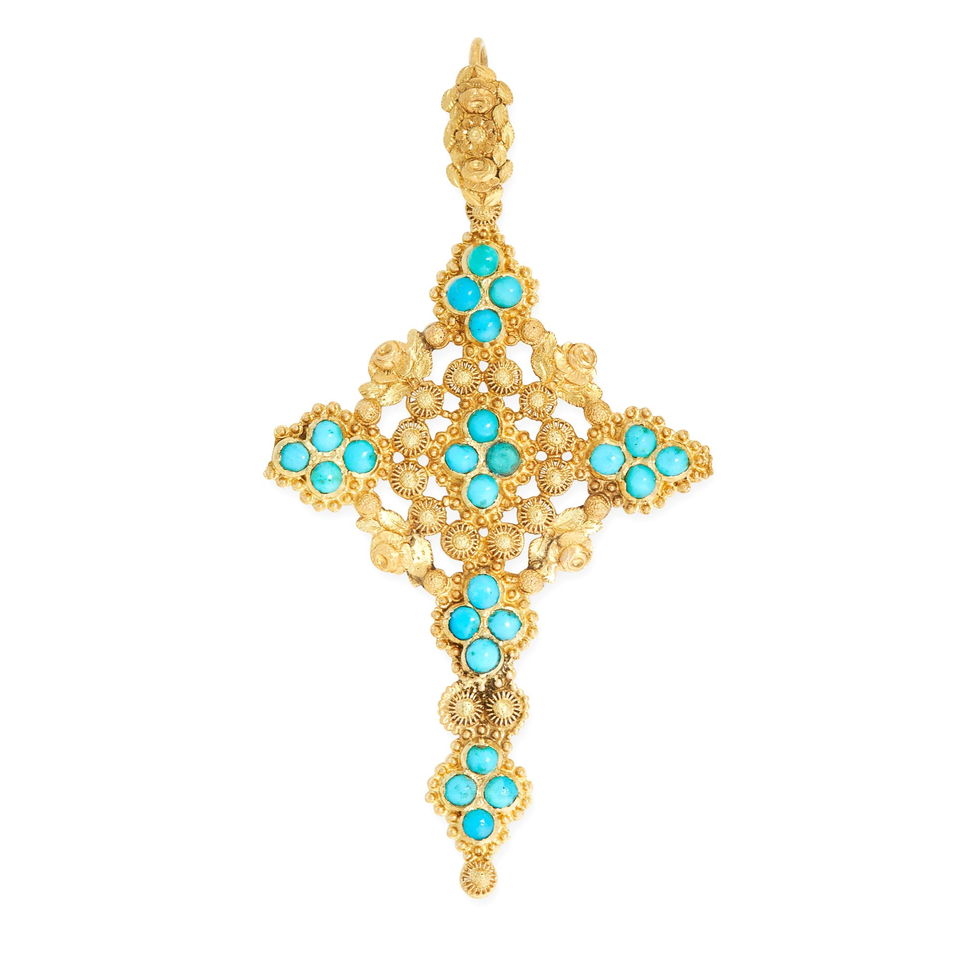 AN ANTIQUE TURQUOISE CROSS PENDANT, 19TH CENTURY in high carat yellow gold, set with clusters of