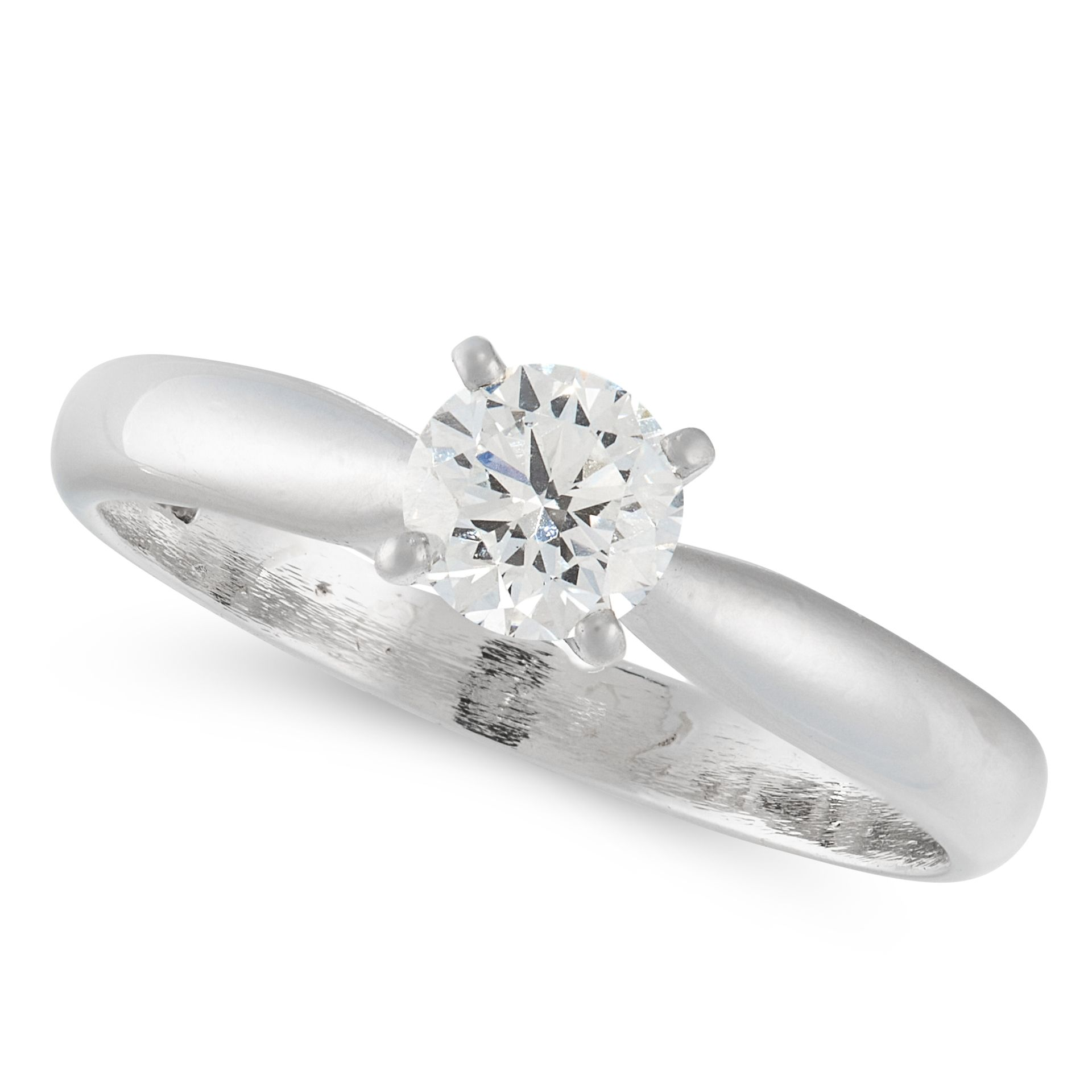A D FLAWLESS SOLITAIRE DIAMOND ENGAGEMENT RING in platinum, set with a round brilliant cut diamond