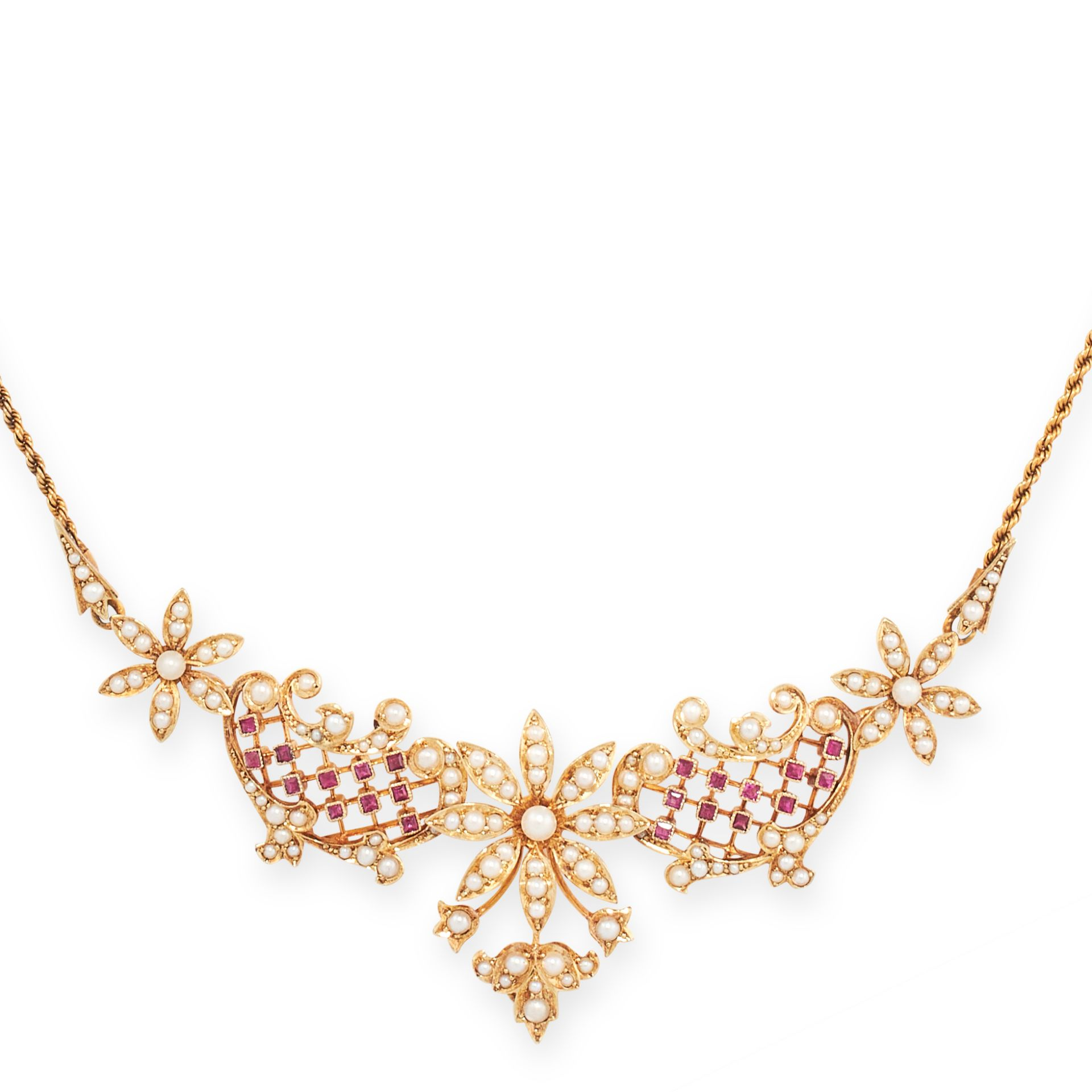 AN ANTIQUE RUBY AND PEARL NECKLACE, 19TH CENTURY in 15ct yellow gold, designed as a trio of