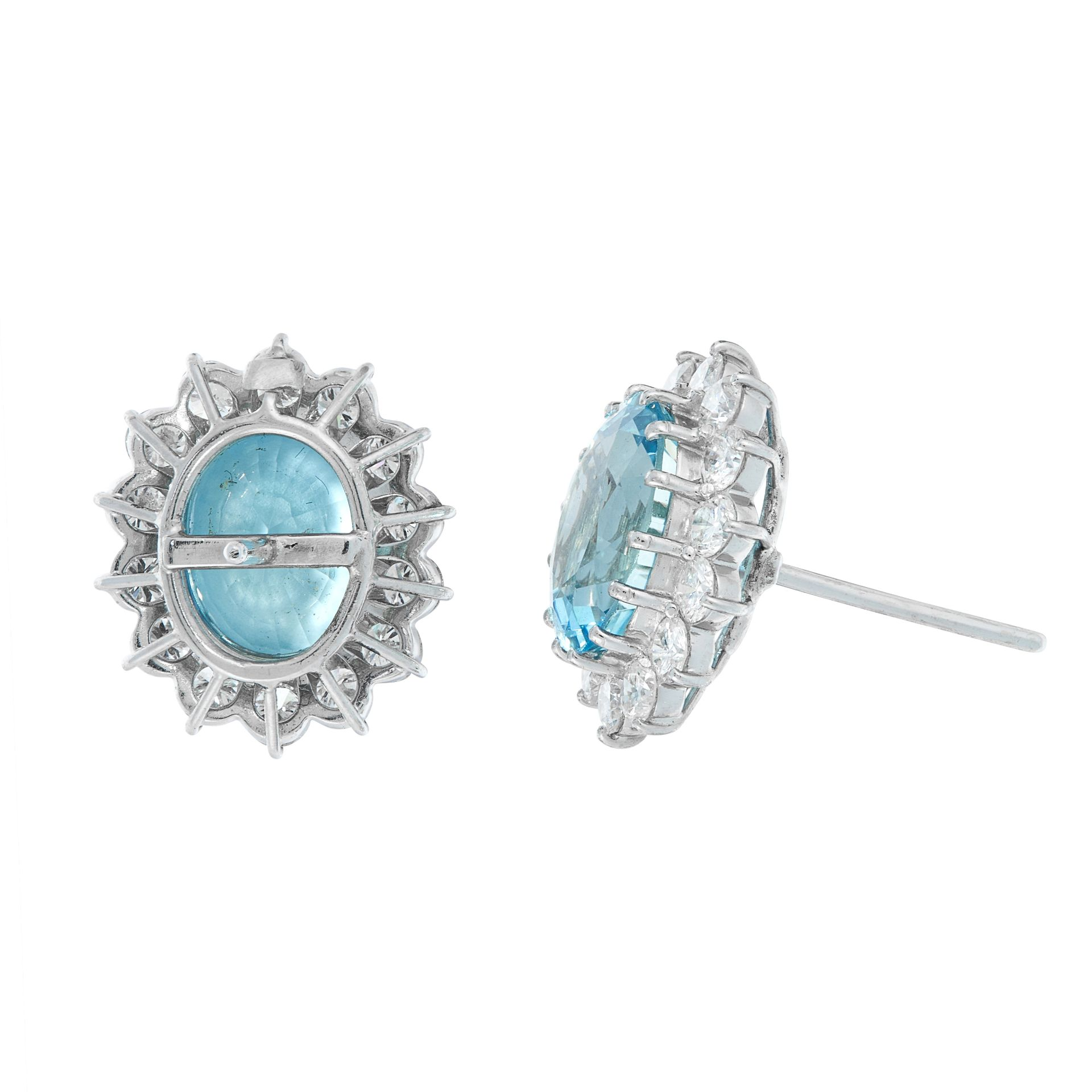 A PAIR OF AQUAMARINE AND DIAMOND STUD EARRINGS each set with an oval cut aquamarine of 2.94 carats - Image 2 of 2