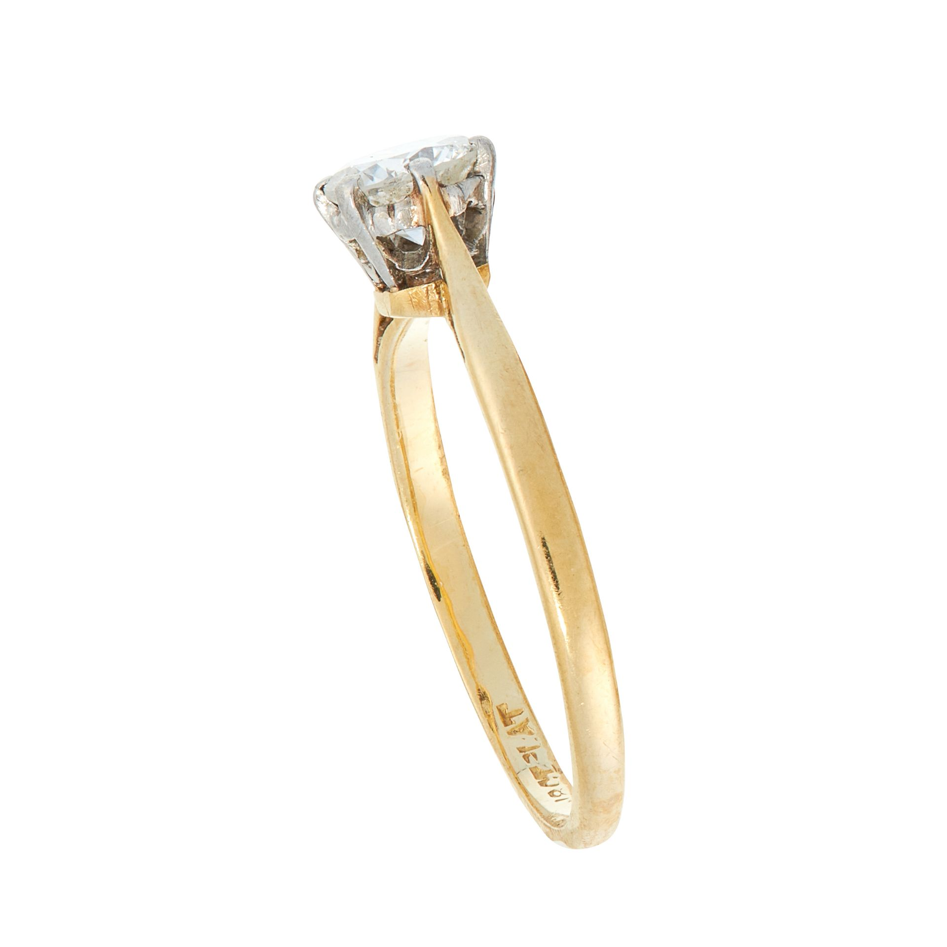 A SOLITAIRE DIAMOND ENGAGEMENT RING in 18ct yellow gold and platinum, set with a round cut diamond - Image 2 of 2