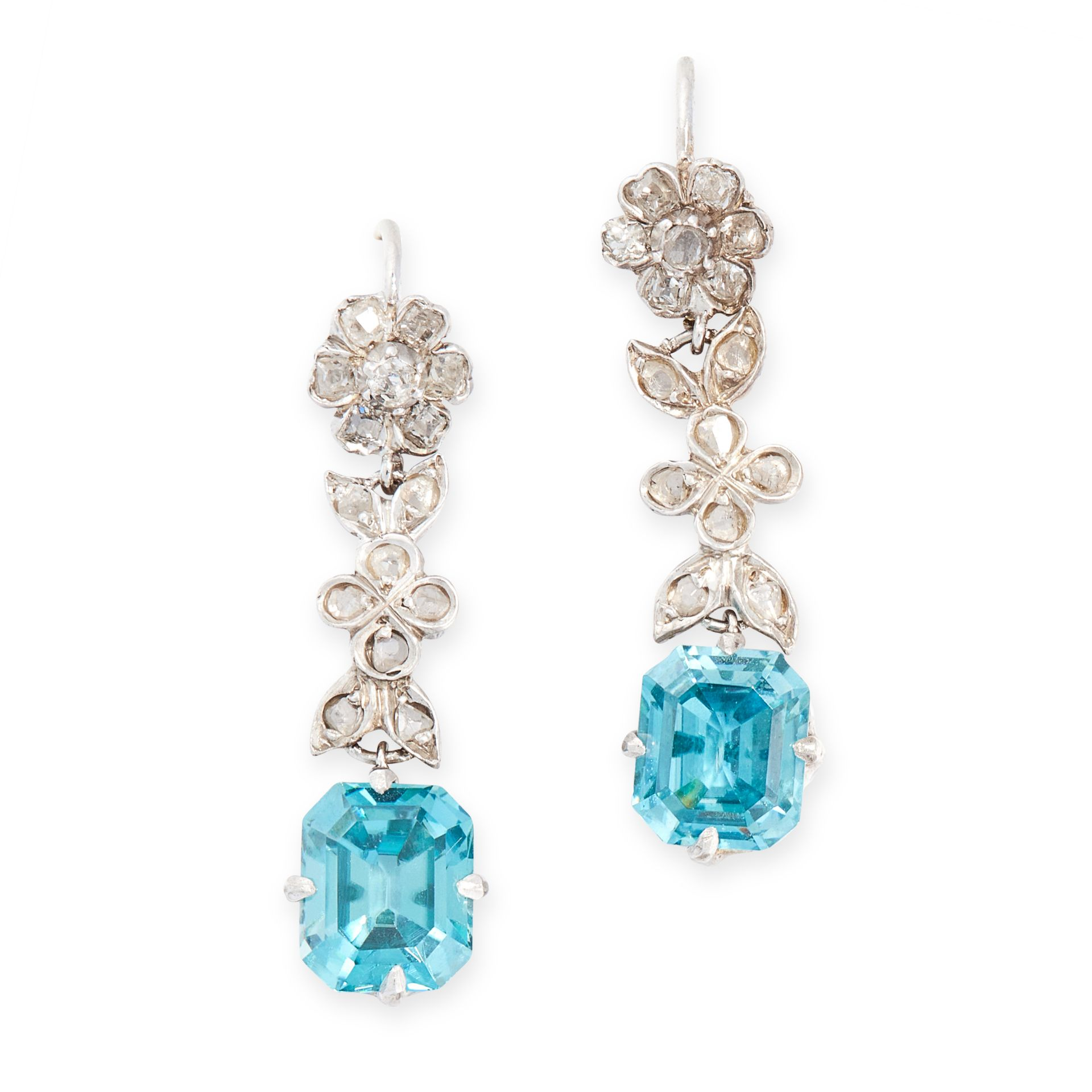 A PAIR OF BLUE ZIRCON AND DIAMOND EARRINGS, EARLY 20TH CENTURY each set with an emerald cut blue