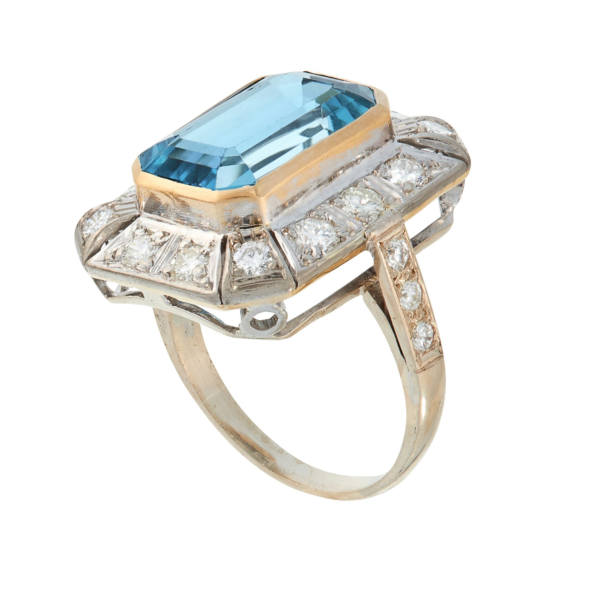 AN AQUAMARINE AND DIAMOND DRESS RING in 18ct white gold and yellow gold, set with an emerald cut - Image 2 of 2