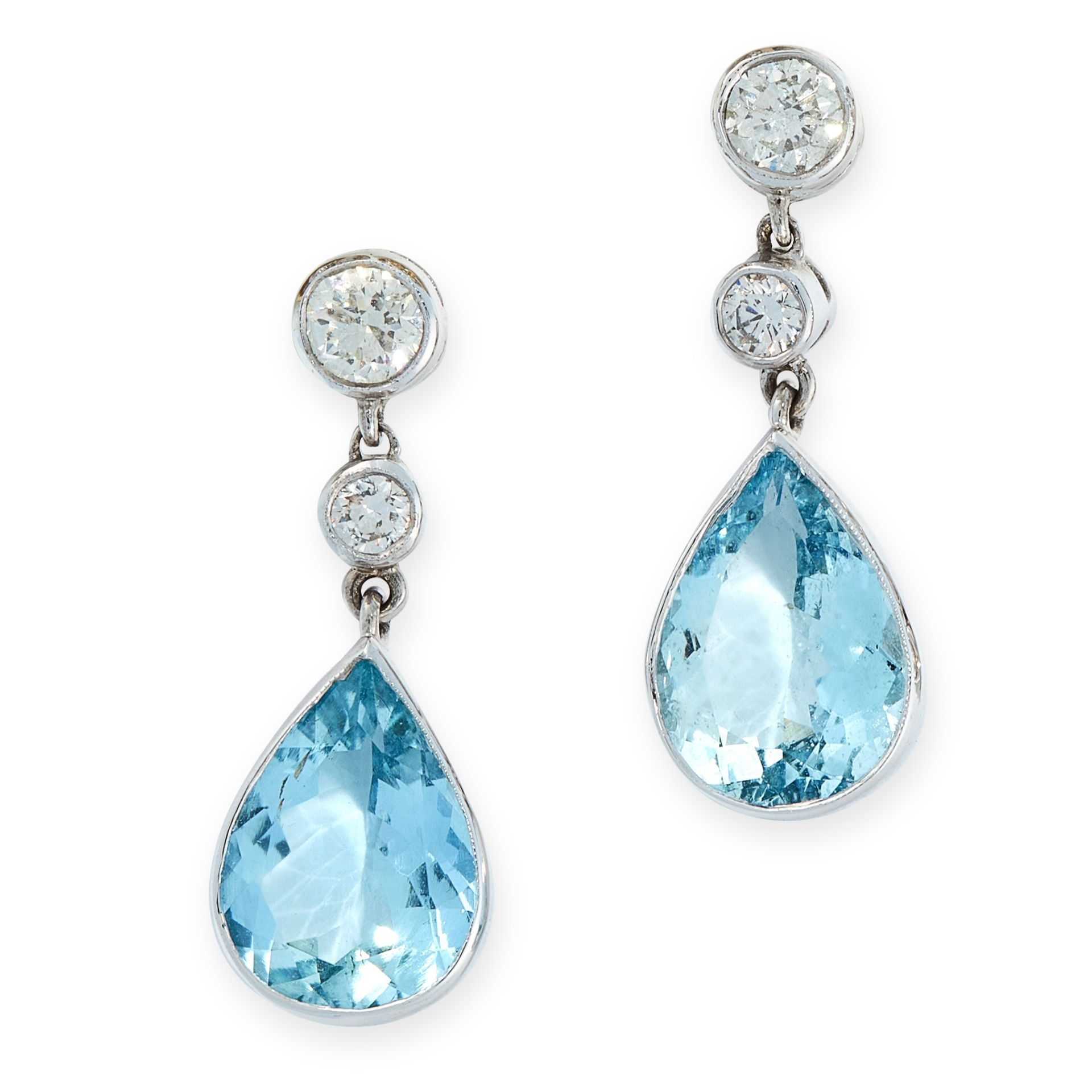 A PAIR OF AQUAMARINE AND DIAMOND DROP EARRINGS in 18ct white gold, each set with a pear cut