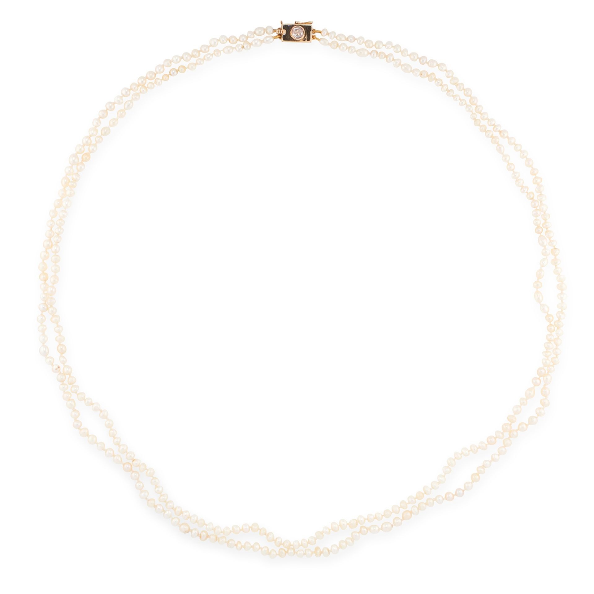 A TWO ROW NATURAL PEARL AND DIAMOND NECKLACE in yellow gold, comprising of two rows of pearls,