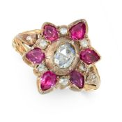AN ANTIQUE DIAMOND AND RUBY DRESS RING, 19TH CENTURY in yellow gold and silver, set with a central